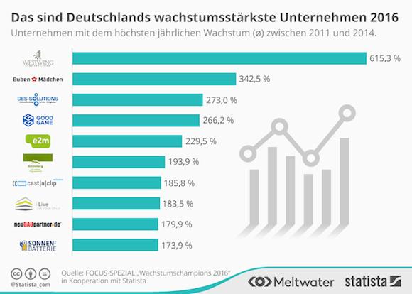 Statista: Diese Unternehmen wachsen am stärksten.
