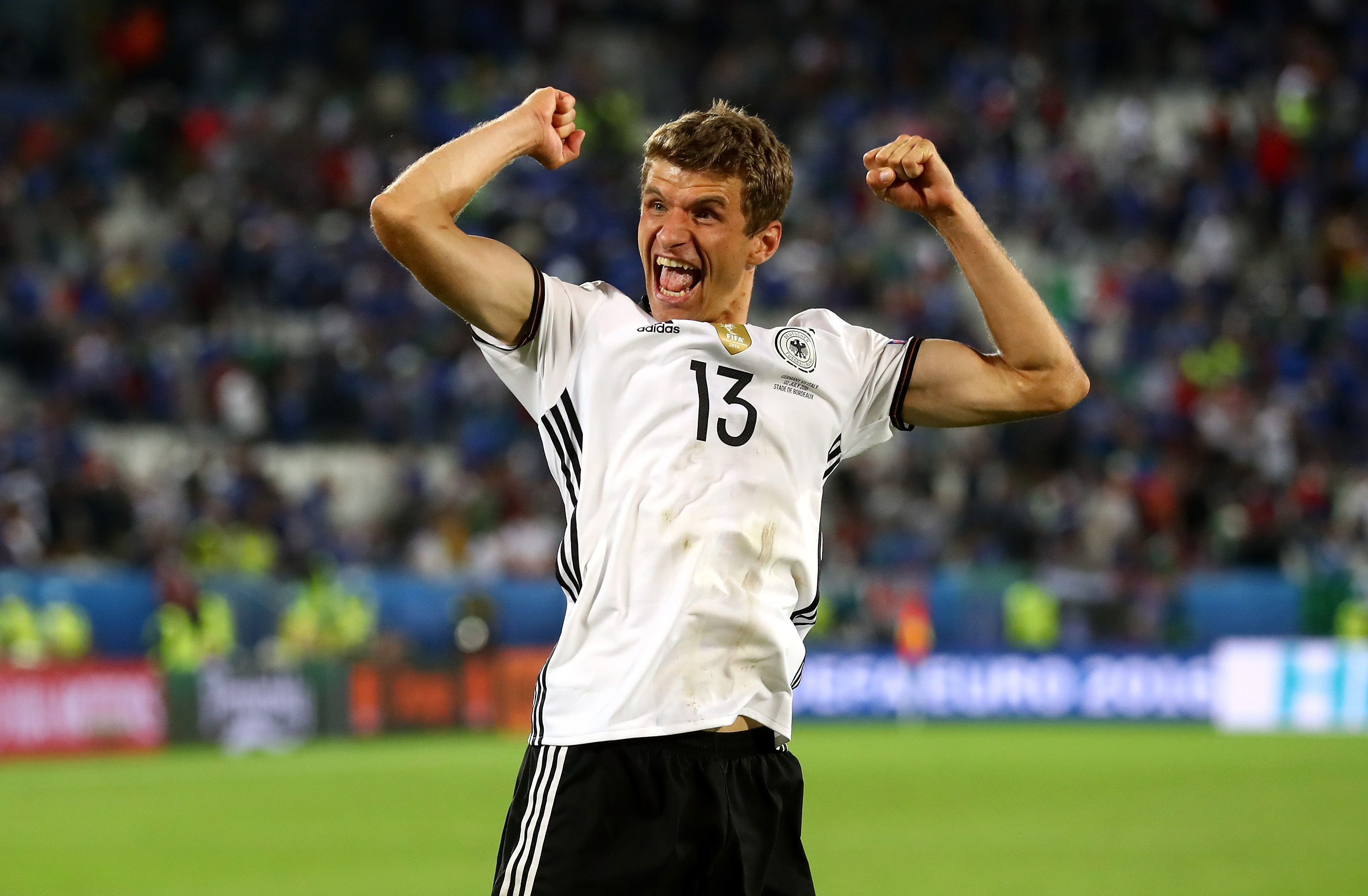 BORDEAUX, FRANCE - JULY 02: Thomas Mueller of Germany celebrates his team's win through the penalty shootout during the UEFA EURO 2016 quarter final match between Germany and Italy at Stade Matmut Atlantique on July 2, 2016 in Bordeaux, France. (Photo by Alexander Hassenstein/Getty Images)